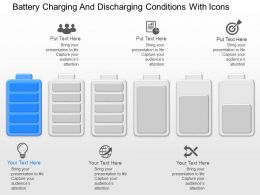 me Battery Charging And Discharging Conditions With Icons Powerpoint Temptate
