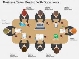 me Business Team Meeting With Documents Flat Powerpoint Design