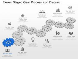Me Eleven Staged Gear Process Icon Diagram Powerpoint Template Slide