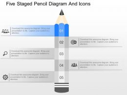 me Five Staged Pencil Diagram And Icons Powerpoint Template