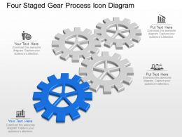 Me Four Staged Gear Process Icon Diagram Powerpoint Template Slide