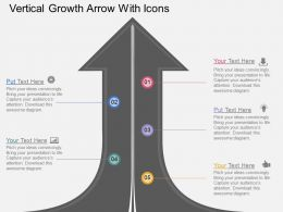 me Vertical Growth Arrow With Icons Flat Powerpoint Design