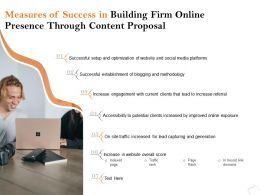 Measures Of Success In Building Firm Online Presence Through Content Proposal Ppt Layouts