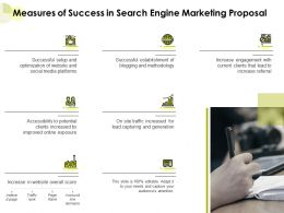 Measures Of Success In Search Engine Marketing Proposal Ppt Powerpoint Presentation Layout