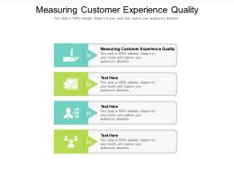 Measuring Customer Experience Quality Ppt Powerpoint Presentation Pictures Slideshow Cpb