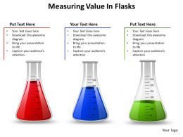 measuring value in flasks chemistry medical liquid half empty full powerpoint diagram templates graphics 712