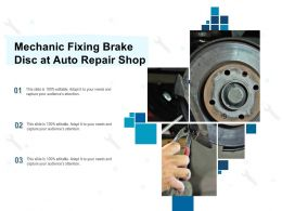 Mechanic Fixing Brake Disc At Auto Repair Shop