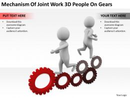 Mechanism Of Joint Work 3D People On Gears Ppt Graphics Icons Powerpoint