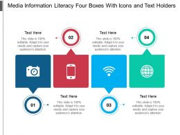 Media Information Literacy Four Boxes With Icons And Text Holders