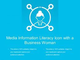 Media Information Literacy Icon With A Business Woman