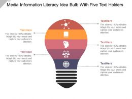 Media Information Literacy Idea Bulb With Five Text Holders