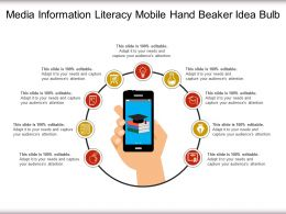 Media Information Literacy Mobile Hand Beaker Idea Bulb