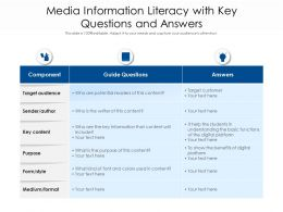 Media Information Literacy With Key Questions And Answers