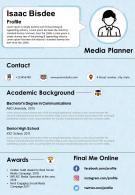 Media Planner Resume And CV Template Fully Editable