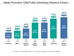 Media Promotion Crm Public Advertising Revenue Drivers With Icons And Figures