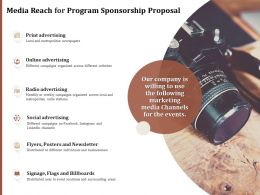 Media Reach For Program Sponsorship Proposal Ppt Powerpoint Presentation Outline Icons