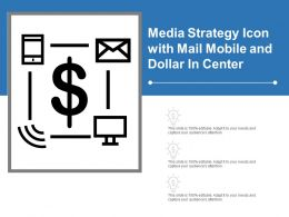 Media Strategy Icon With Mail Mobile And Dollar In Center