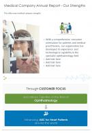 Medical Company Annual Report Our Strengths Presentation Report Infographic PPT PDF Document
