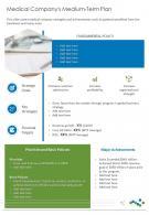 Medical Companys Medium term Plan Presentation Report Infographic PPT PDF Document