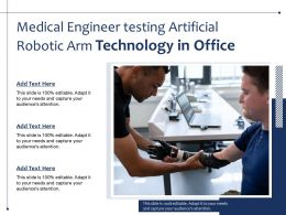 Medical Engineer Testing Artificial Robotic Arm Technology In Office