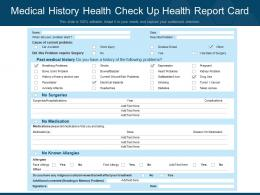 Medical History Health Check Up Health Report Card