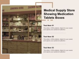 Medical Supply Store Showing Medication Tablets Boxes