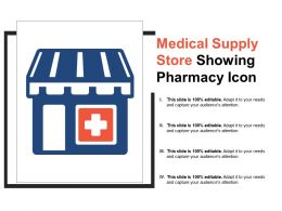 Medical Supply Store Showing Pharmacy Icon