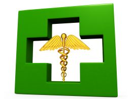 Medical Symbol Inside The Green Square Displaying Medical Theme Stock Photo