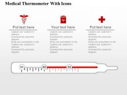 Medical Thermometer With Icons Flat Powerpoint Design