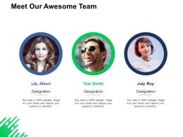 Meet Our Awesome Team Communication Ppt Powerpoint Presentation Infographics Deck