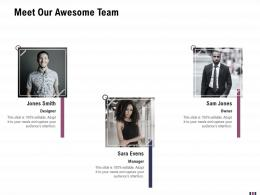 Meet Our Awesome Team Rebranding And Relaunching Ppt Brochure