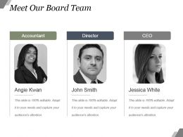 Meet Our Board Team Powerpoint Slide Deck Template