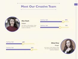 Meet Our Creative Team Alissa Tony M1749 Ppt Powerpoint Presentation Infographic Template Graphics