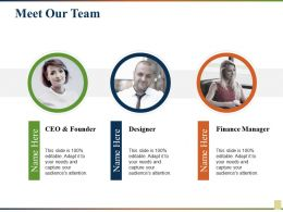 Meet Our Team Ceo And Founder Designer Finance Manager
