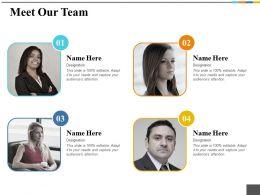 Meet Our Team Ppt Outline Model