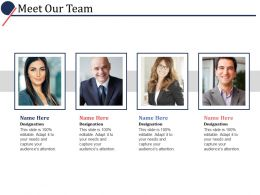 Meet Our Team Ppt Powerpoint Presentation File Influencers