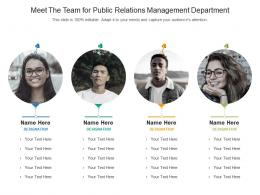 Meet The Team For Public Relations Management Department Infographic Template