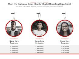 Meet The Technical Team Slide For Digital Marketing Department Infographic Template