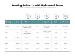 Meeting Action List With Update And Status