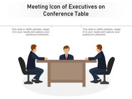Meeting Icon Of Executives On Conference Table