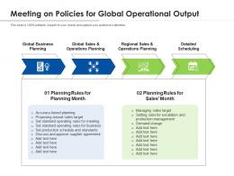Meeting On Policies For Global Operational Output