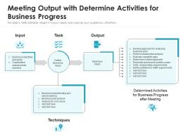 Meeting Output With Determine Activities For Business Progress