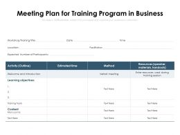 Meeting Plan For Training Program In Business