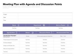 Meeting Plan With Agenda And Discussion Points