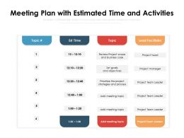 Meeting Plan With Estimated Time And Activities