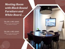 Meeting Room With Black Round Furniture And White Board