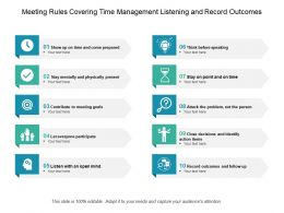 Meeting Rules Covering Time Management Listening And Record Outcomes