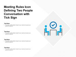 Meeting Rules Icon Defining Two People Conversation With Tick Sign