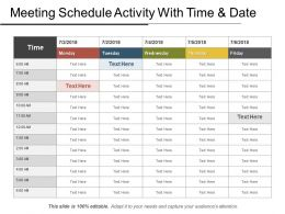 Meeting Schedule Activity With Time And Date Ppt Example