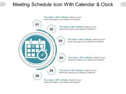 Meeting Schedule Icon With Calendar And Clock Ppt Diagrams